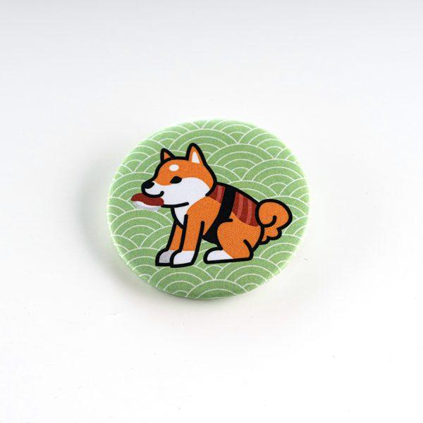Badge kawaii Shiba sushi